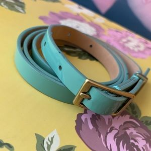 J. Crew teal patent leather belt L